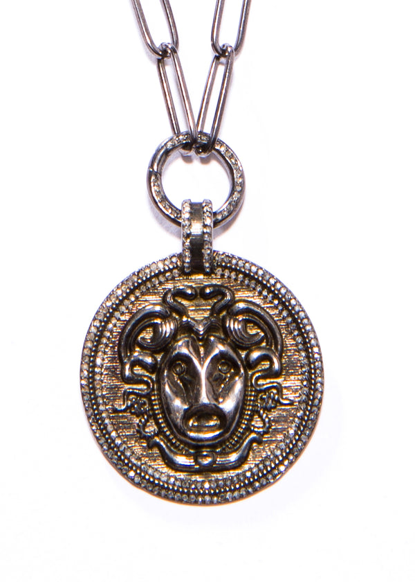 Blackened Sterling Diamond Encrusted Alexander the Great Pendant w/ Chain & Diamond Clasp #9076-Necklaces-Gretchen Ventura