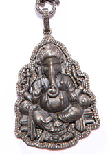 "Blackened Matte Sterling & Diamond Ganesha on Oxidized Sterling chain w/ Lobster claw clasp (16"" + 2.75"")-Necklace-Gretchen Ventura"