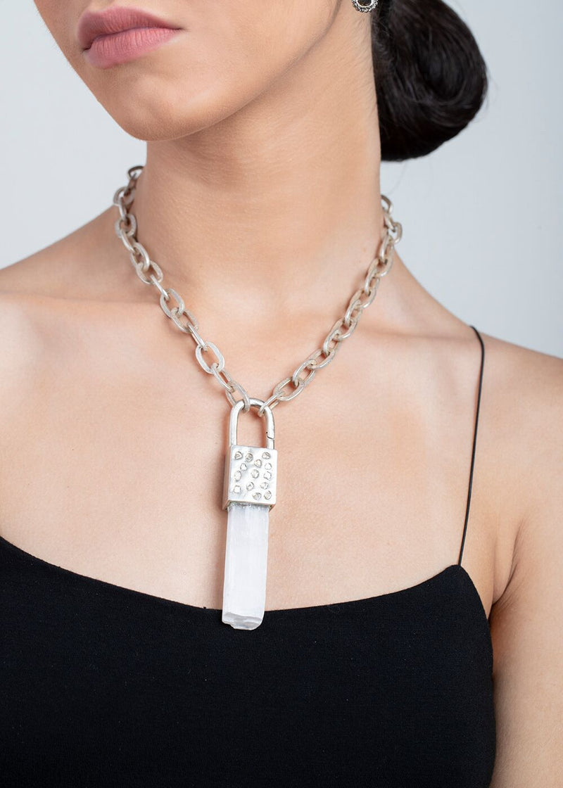 Conflict Free Diamond Slice & Sterling Capped Selenite Shard & Acid Wash Hammered Link 9027-Necklaces-Gretchen Ventura