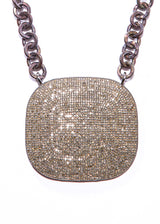 Pave Diamond Plate w/ Rhodium Plated Sterling Chain & Diamond Lobster Clasp #9240-Necklaces-Gretchen Ventura