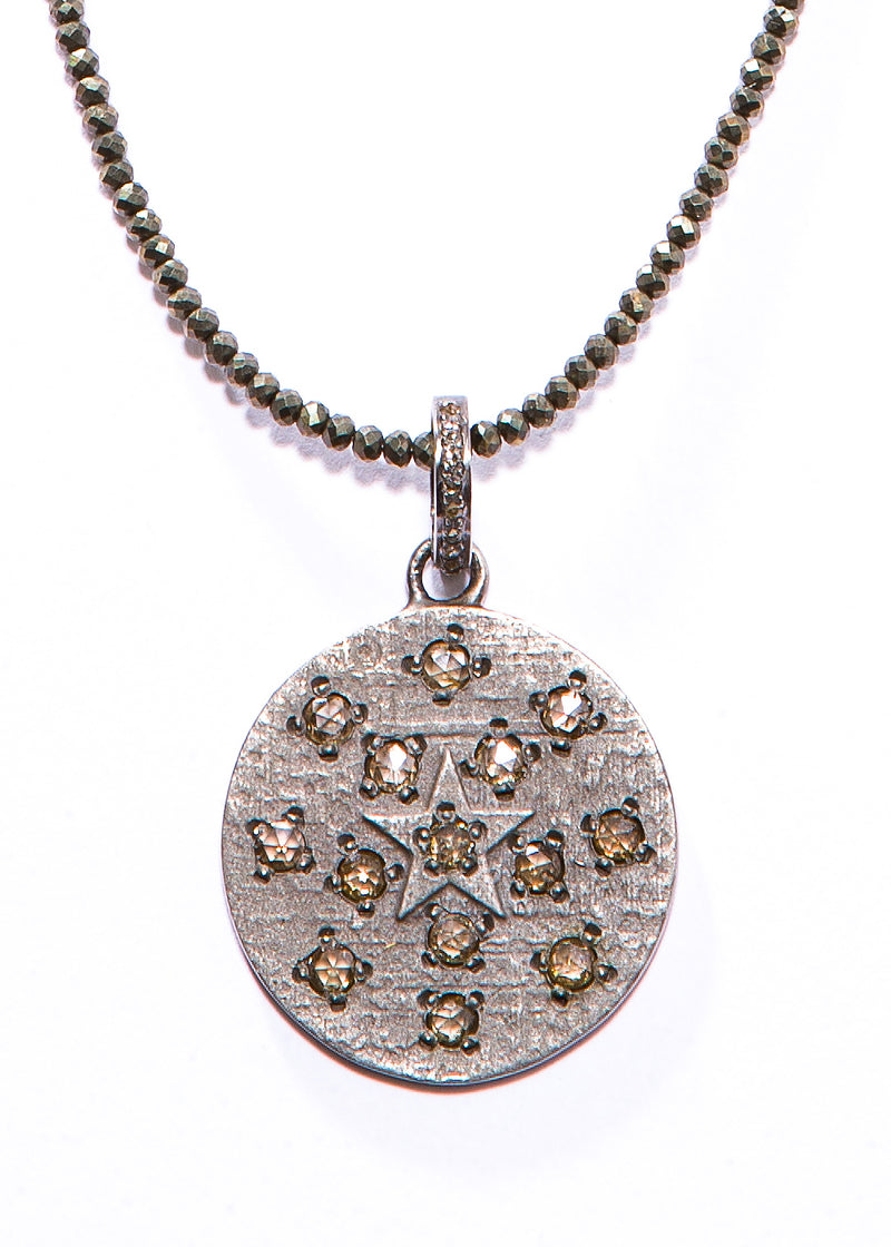 Faceted Natural Pyrite w/ Matte Sterling & Champagne Diamond Round Pendant #10052-Necklaces-Gretchen Ventura