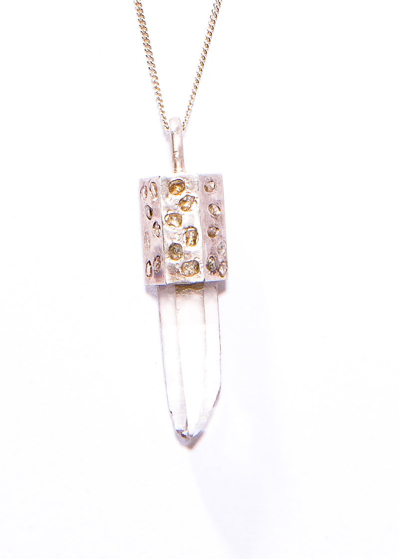 Raw Crystal Capped in Sterling Silver & Raw Diamonds w/ Sterling Silver Curb Chain #9420-Necklaces-Gretchen Ventura