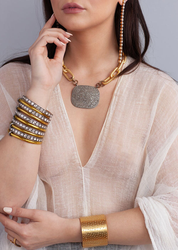 Diamond Plate On Gold Plate over Sterling GV Link Necklace #9035-Necklaces-Gretchen Ventura
