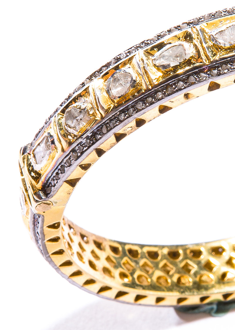 Pave & Rose Cut Diamond in Gold Plate over Sterling Bracelet #2867-Bracelets-Gretchen Ventura