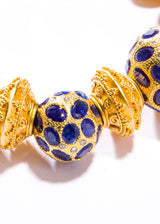 Sapphire & Diamond Bead w/ Hill tribe 24K Gold over Sterling Beads #2832-Bracelets-Gretchen Ventura