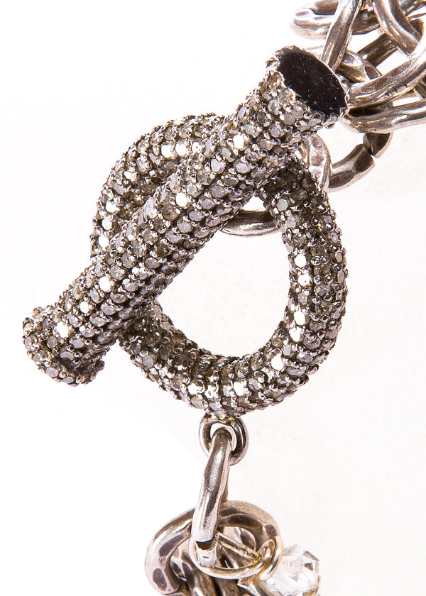 Blackened Hand Hammered Silver Bracelet w/ Pave Diamond Toggle #2849-Bracelets-Gretchen Ventura