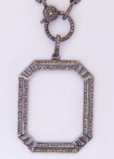 Diamond Rectangle on Blackened Sterling Curb Chain w/ Diamond Lobster Claw Clasp #9058-Necklaces-Gretchen Ventura
