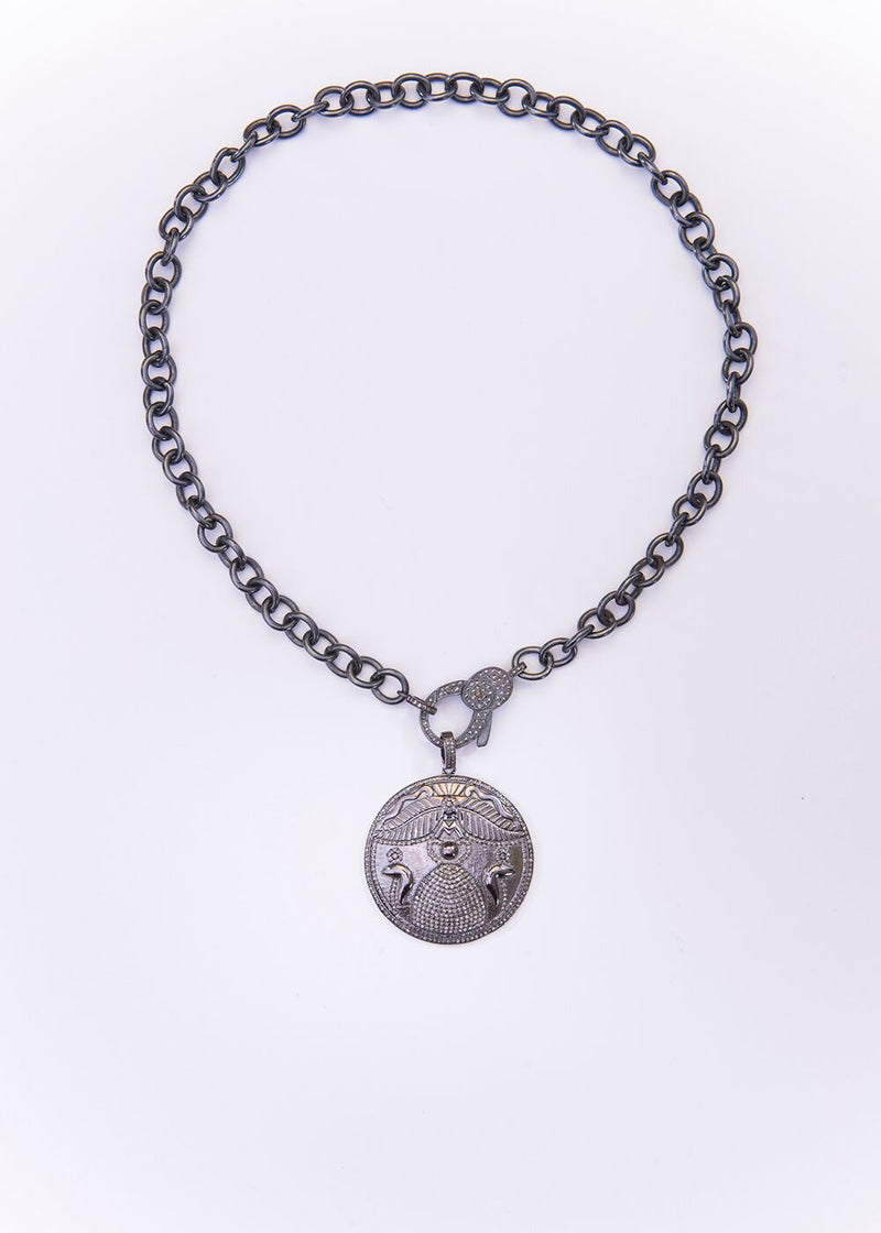 Blackened Sterling Chain & Diamond Egyptian Ancient Symbol for strength and transformation #9059-Necklaces-Gretchen Ventura