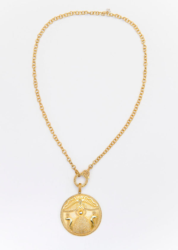Gold Plate over Sterling & Diamond Egyptian symbol of Strength & Transformation & Chain #9074-Necklace-Gretchen Ventura