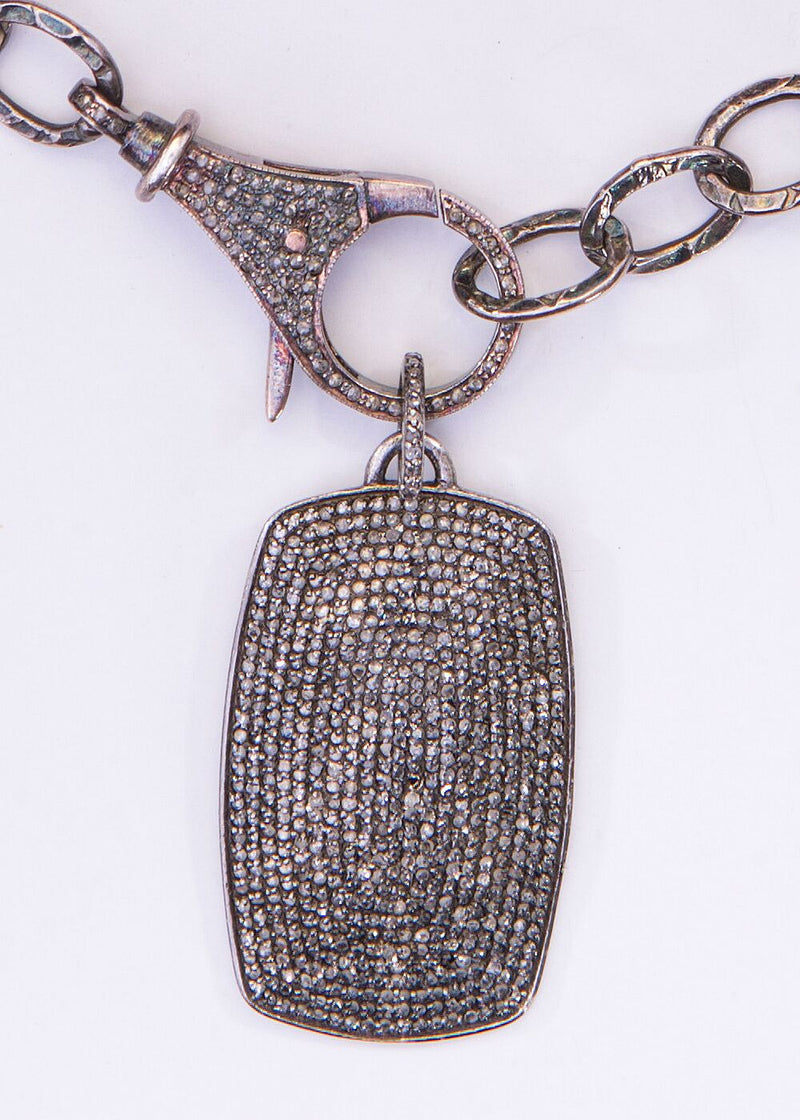 Pave Diamond & Sterling Dog Tag Pendant & Oxidized Sterling Hammered Chain 9079-Necklaces-Gretchen Ventura