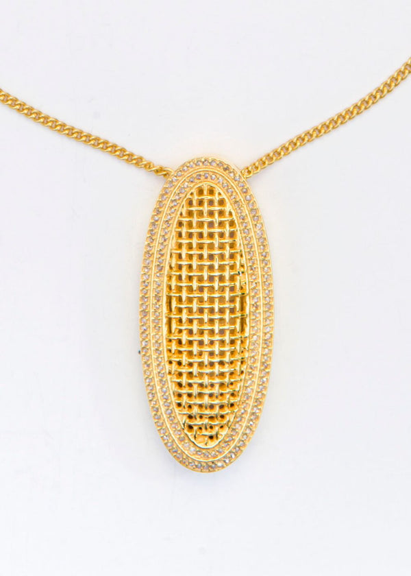 Gold Plate over Sterling Diamond Encrusted Oval and Chain #6065-Necklaces-Gretchen Ventura