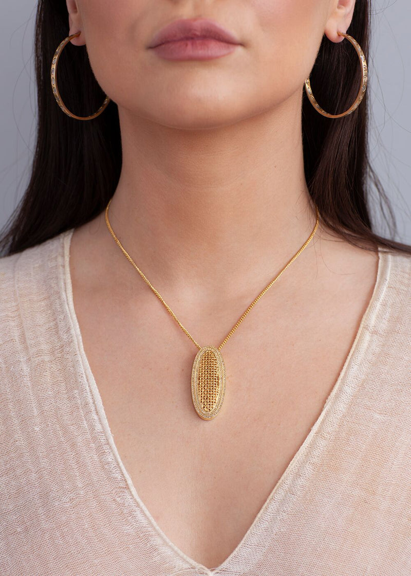 Gold Plate over Sterling Diamond Encrusted Oval and Chain 9080-Necklaces-Gretchen Ventura