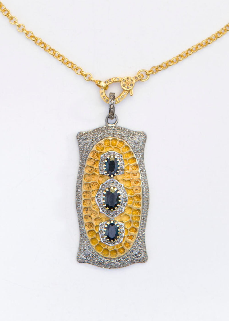 Diamond Pave & Sapphire w/ Gold Plate over Sterling Pendant & Chain 9083-Necklaces-Gretchen Ventura