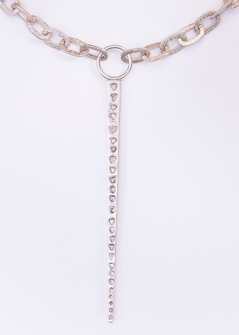 Acid wash Sterling Hammered Link Chain W/CF Diamond Sliced Silver Spear Pendant #9095-Necklaces-Gretchen Ventura