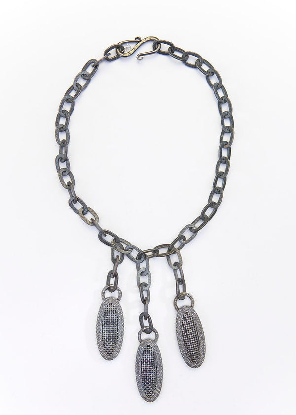 Blackened Sterling Diamond Encrusted Ovals & Hand Hammered Blackened Chain 9106-Necklaces-Gretchen Ventura