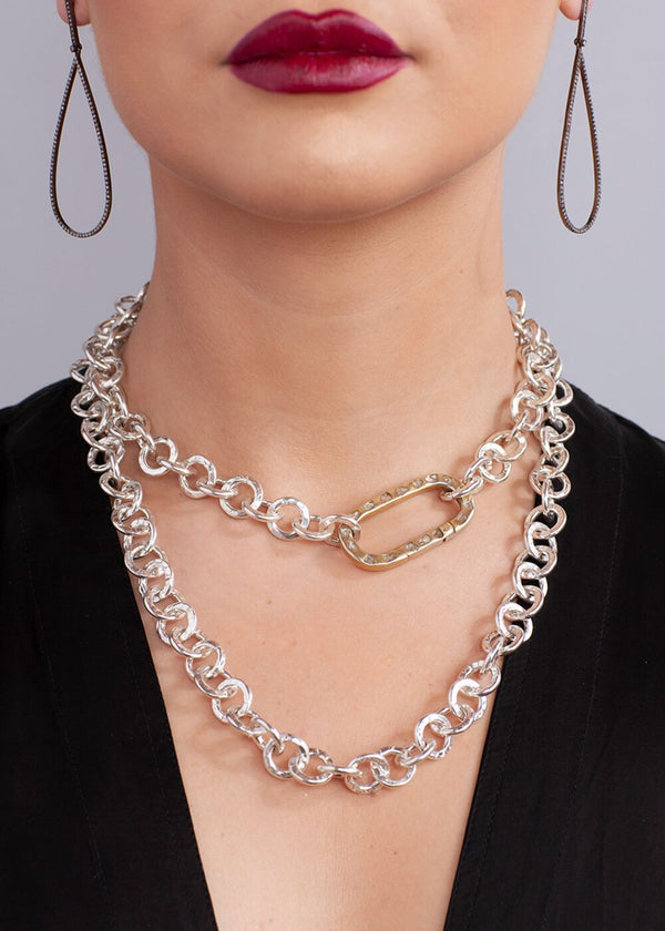 Hand Hammered Silver Plate Chain w/ Sterling Silver CF Diamond Slice Clasp #9108-Necklaces-Gretchen Ventura