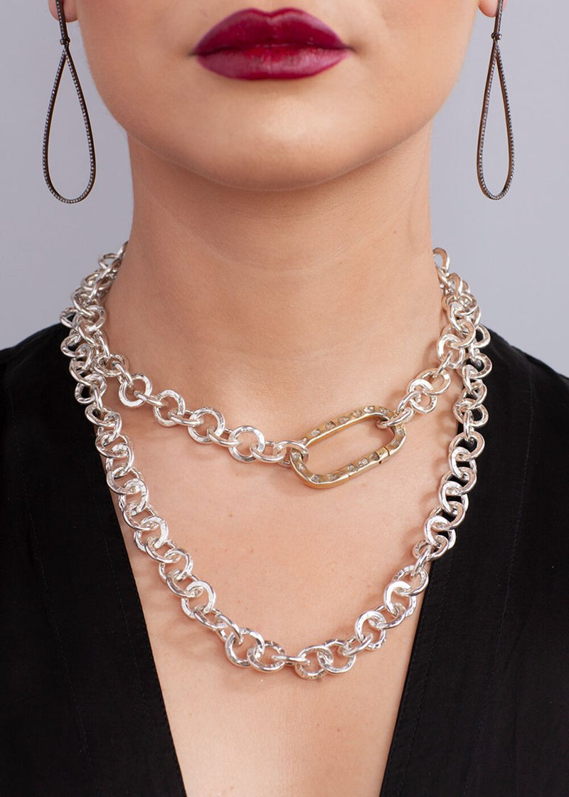 "Hand Hammered Silver Plate Chain w/ Sterling Silver CF Diamond Slice Clasp (42"")-Necklace-Gretchen Ventura"