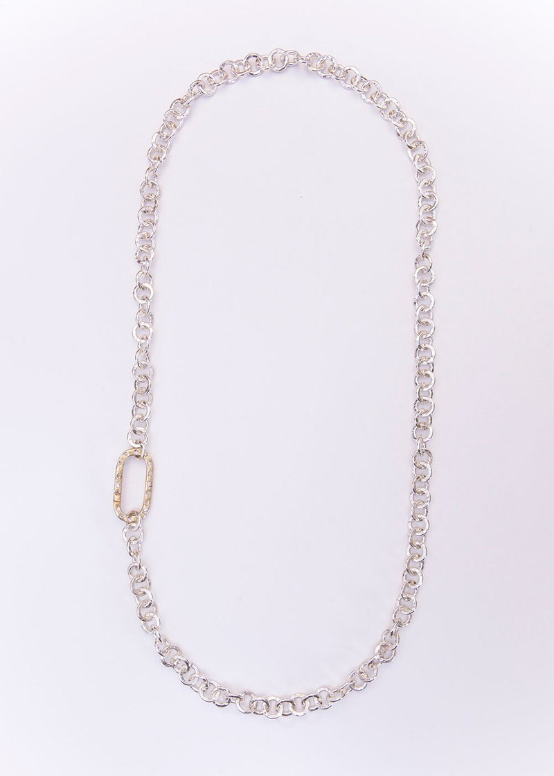 Hand Hammered Silver Plate Chain w/ Sterling Silver Conflict Free Diamond Slice Clasp 9108-Necklaces-Gretchen Ventura