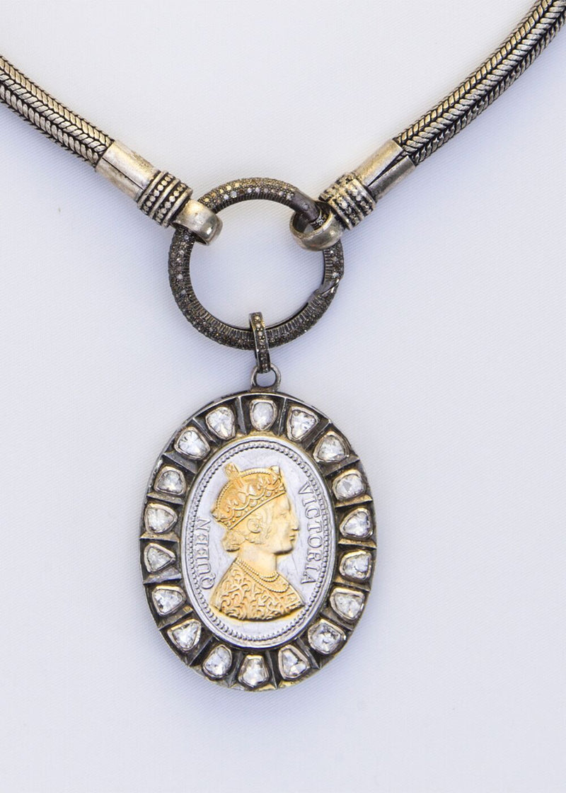 Rose cut Diamond, Sterling and Gold Plate Queen Victoria Medallio w/Vintage Bedouin Silver Chain 9137-Necklaces-Gretchen Ventura