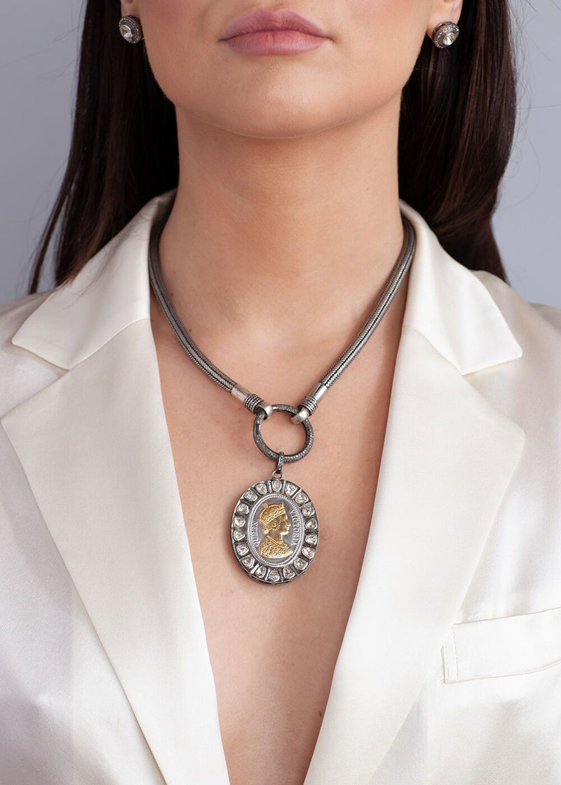 Rose cut Diamond, Sterling and Gold Plate Queen Victoria Medallion w/Vintage Silver Chain #9137-Necklaces-Gretchen Ventura