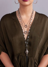 Emerald Cut Quartz in Sterling w/ Rose Cut & Pave Diamond Beads & Blackened Sterling Tassel #9139-Necklaces-Gretchen Ventura