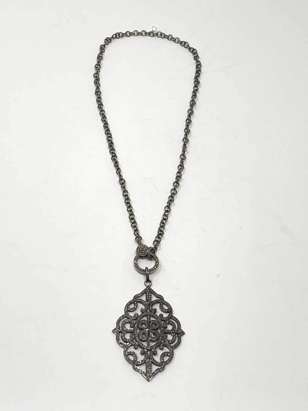 Blackened Sterling Chain w/ Diamond Clasp & Pave Diamond Pendant #9146-Necklaces-Gretchen Ventura