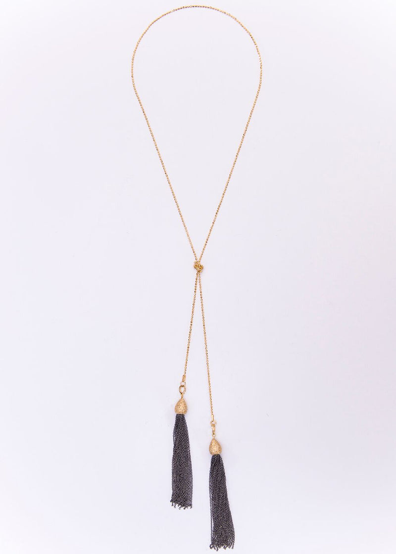 Gold Plate over Sterling, Pave Diamond & Blackened Chain Tassel & Chain 9153-Necklaces-Gretchen Ventura