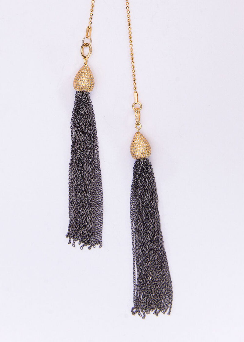 Gold Plate over Sterling, Pave Diamond & Blackened Chain Tassel w/Gold Plate Over Sterling Chain 9153-Necklaces-Gretchen Ventura