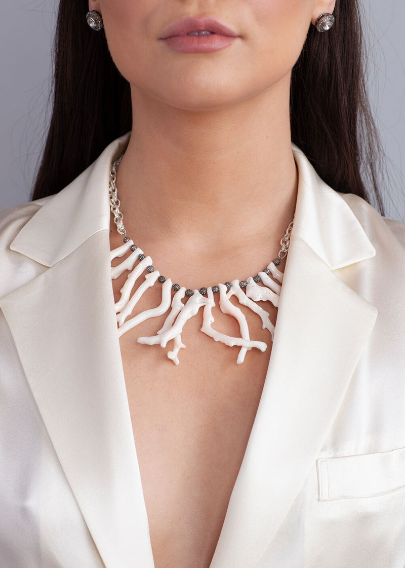 Natural White Coral & Pave Diamond Beads w/Textured Sterling Chain #9154-Necklaces-Gretchen Ventura