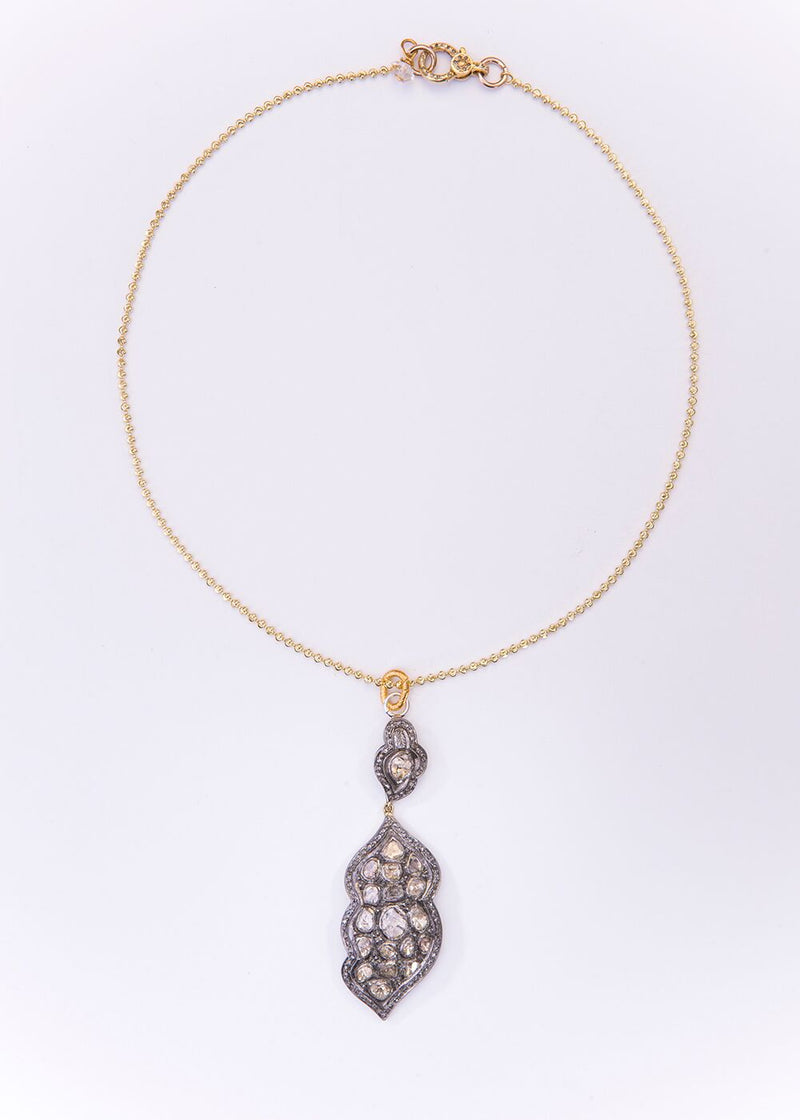 Vintage Sterling, Rose Cut Diamond Pendant w/Gold Plate Over Sterling Chain 9167-Necklaces-Gretchen Ventura
