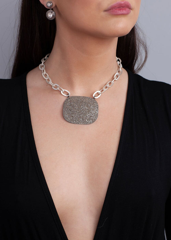 Acid Wash Hand Hammered Sterling Silver Links chain & Diamond Plate 9169-Necklaces-Gretchen Ventura