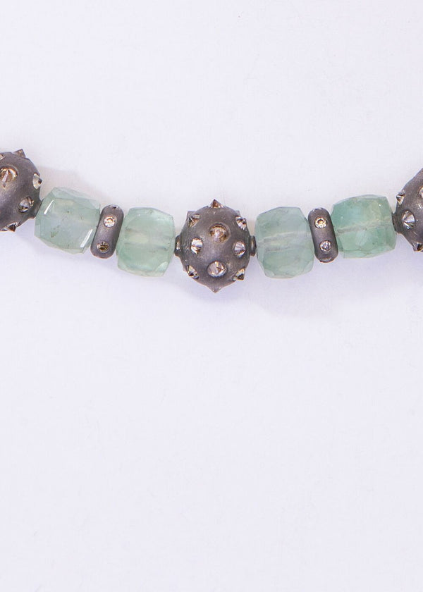 Faceted Square Florite w/ Single cut Diamond Beads & Diamond Lobster Claw Clasp #9172-Necklaces-Gretchen Ventura