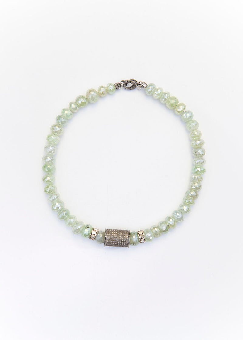 Faceted Prehnite Beads, Pave Diamond Tube and Rose cut Diamond Wheels #9174-Necklaces-Gretchen Ventura