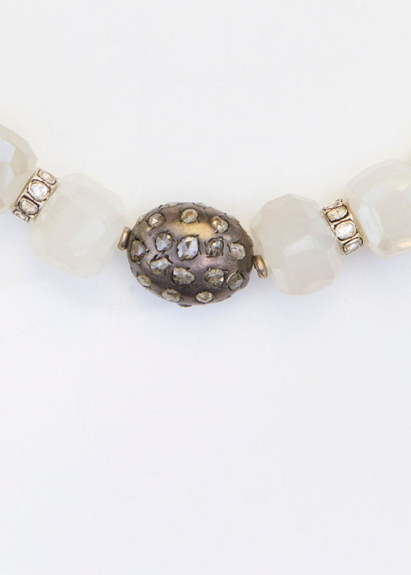 Faceted White Chalcedony, Antique Silver rings, & Hand Formed Rose Cut Diamond Bead & wheels #9175-Necklaces-Gretchen Ventura