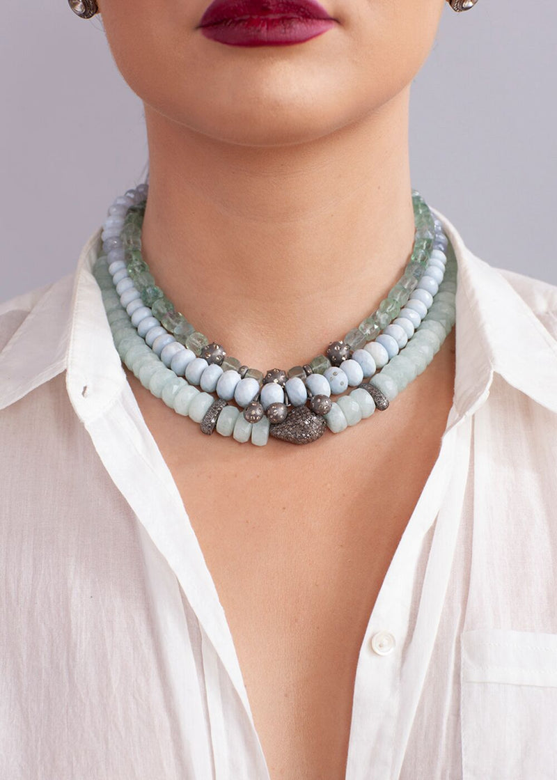 Faceted Milky Aqua Marine w/ Matte Rhodium Sterling & Single cut Diamond Briolettes #9176-Necklaces-Gretchen Ventura