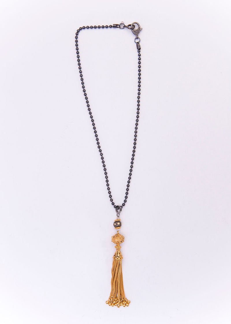 24K Gold over Sterling Tassel, Titanium Plated, Single Cut Diamond Bead Blackened Chain #9180-Necklaces-Gretchen Ventura