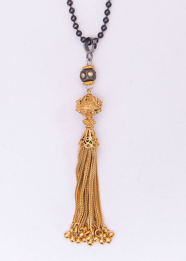 24K Gold over Sterling Tassel, Titanium Plated, Single Cut Diamond Bead Blackened Chain 9180-Necklaces-Gretchen Ventura