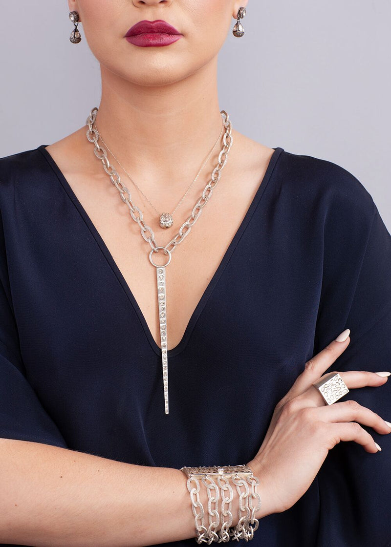 Conflict Free Diamond Slice Silver Nugget & Sterling Chain #9182-Necklaces-Gretchen Ventura