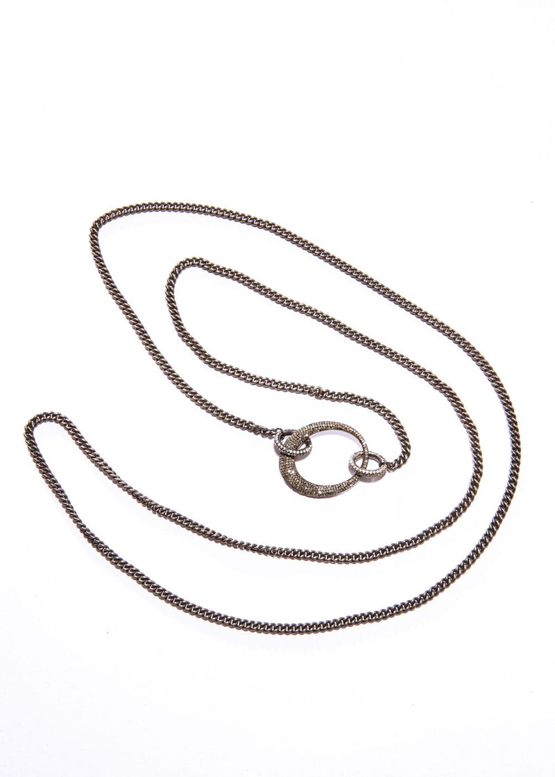 Rhodium Plated Sterling Curb Chain, Diamond Oval & Clasps #9188-Necklaces-Gretchen Ventura