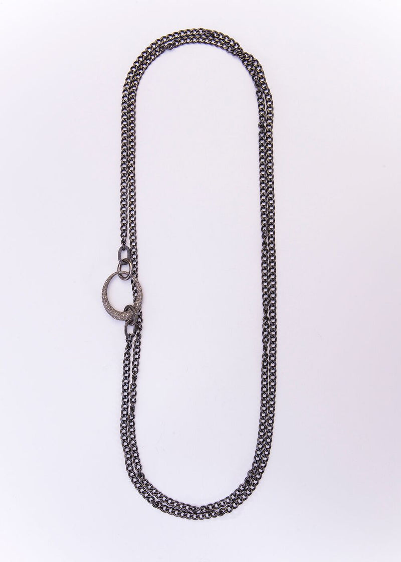 Rhodium Plated Sterling Curb Chain, Diamond Oval & Clasps 9188-Necklaces-Gretchen Ventura