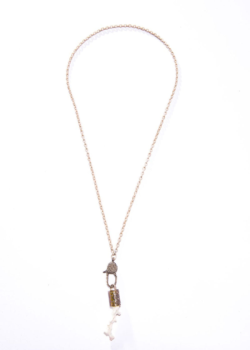 White Coral Capped w/ Sterling & Conflict Free Diamond Slice & Acid Wash GV SS Chain #9196-Necklaces-Gretchen Ventura