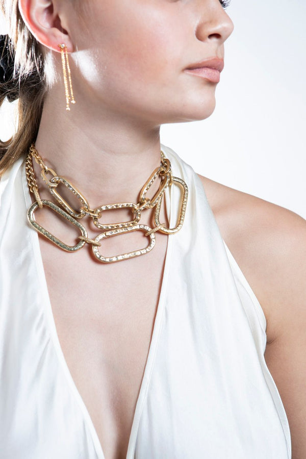 Gold Plate Hammered Links, Conflict Free Diamond Slice Clasp, & GP Sterling GV Chain #9201-Necklaces-Gretchen Ventura