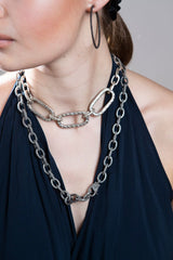 Sterling Hammered Link, Conflict Free Diamond Slice clasps, w/ Acid wash sterling link chain #9203-Necklaces-Gretchen Ventura