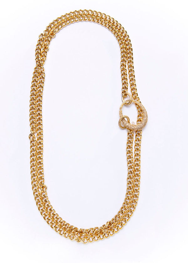 Gold Plate Sterling Curb Chain w/ Gold Plate Diamond Oval & Clasps 9205-Necklaces-Gretchen Ventura