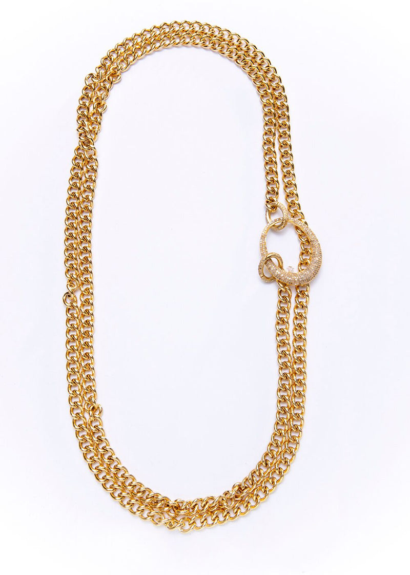 Gold Plate Sterling Curb Chain w/ Gold Plate Diamond Oval & Clasps #9205-Necklaces-Gretchen Ventura