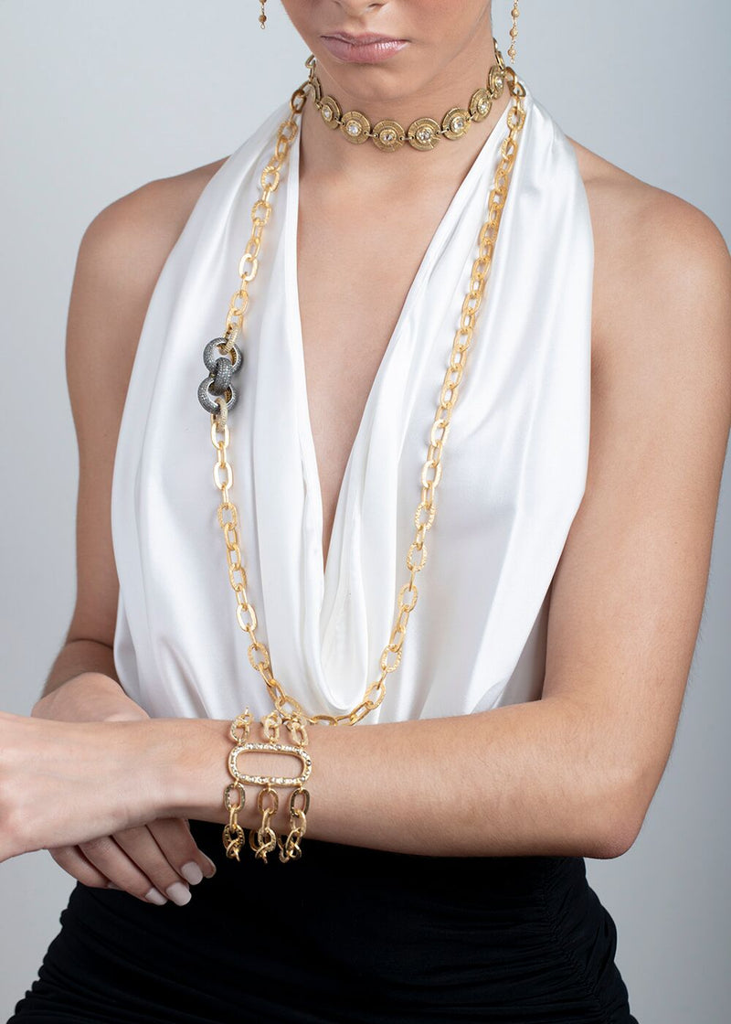 Vintage Gold Plate over Sterling & Rose Cut Diamond Choker w/Hand Hammered Link Chain 9219-Necklaces-Gretchen Ventura