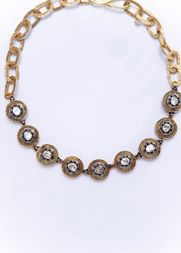 Gold Plate over Sterling Vintage & Rose Cut Diamond Choker w/Hand Hammered Link Chain #9220-Necklaces-Gretchen Ventura
