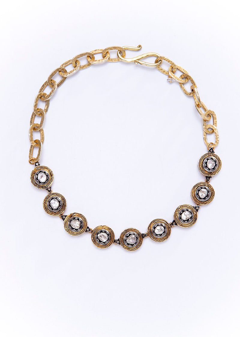 Vintage Gold Plate over Sterling & Rose Cut Diamond Choker w/Hand Hammered Link Chain 9220-Necklaces-Gretchen Ventura