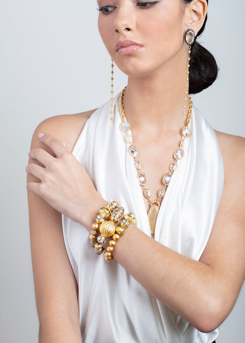 22K Gold Plate over Sterling Pave & Faceted Quartz Crystal w/Link Chain 9221-Necklaces-Gretchen Ventura