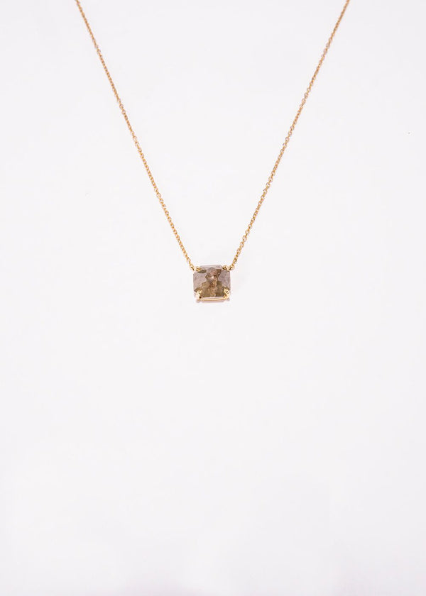Rose Cut Gray Diamond w/18 K Gold Chain 9229-Necklaces-Gretchen Ventura